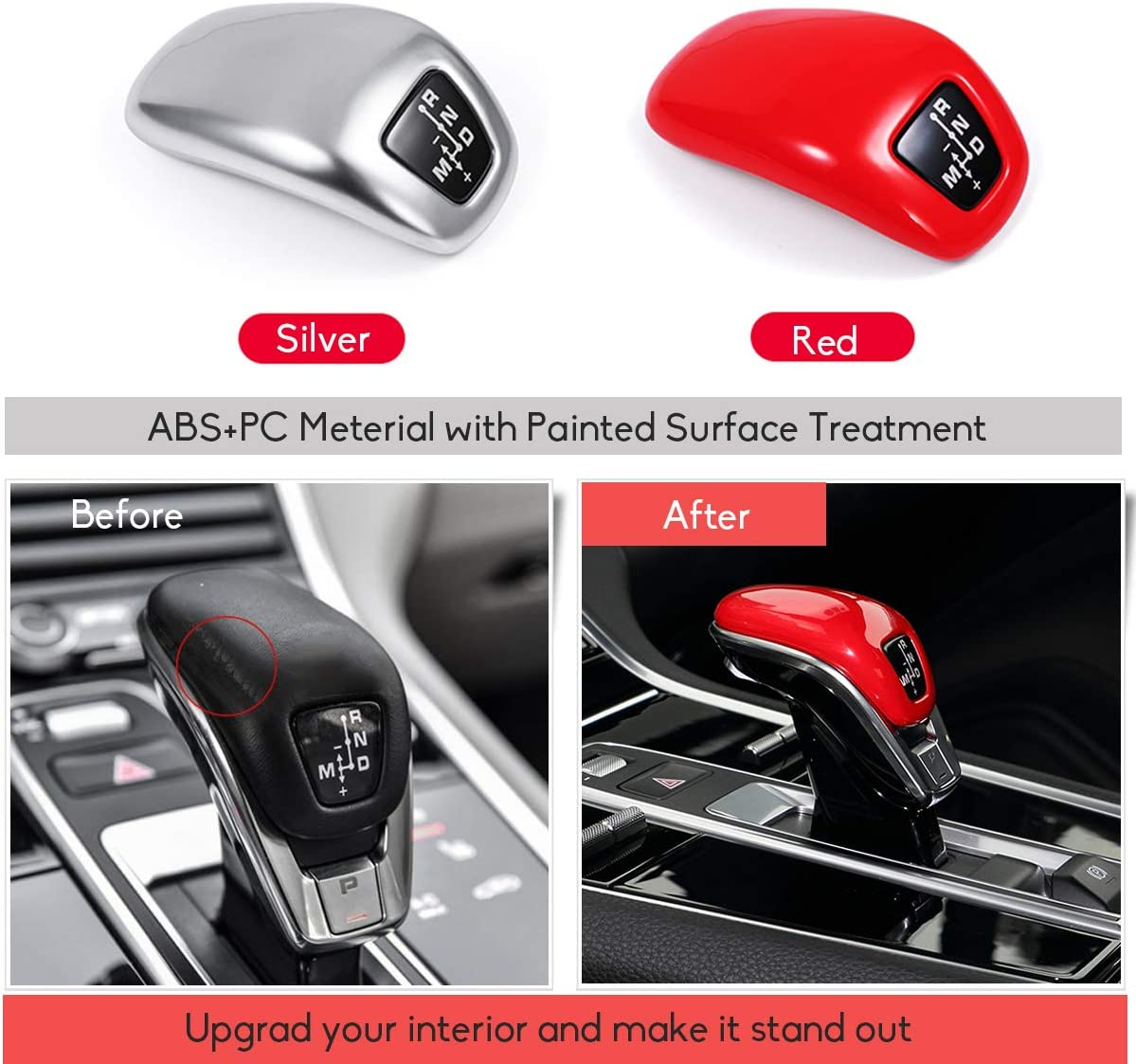 Glossy Red Shift Knob Cover Painted Shift Knob Protector Fits: Panamera 2017-2019 Jaronx Gear Shift Knob Cover Replacement for Porsche Panamera 2017-2019