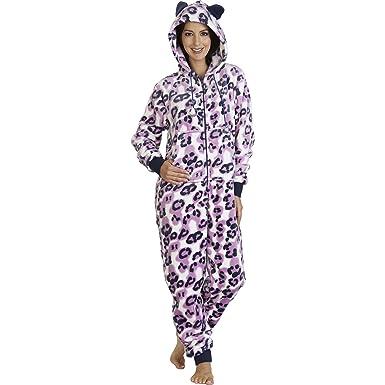 703da787568 Ladies Luxurious Slenderella Leopard Print Footless Onesie   All In One  with Pockets Hood   Ears