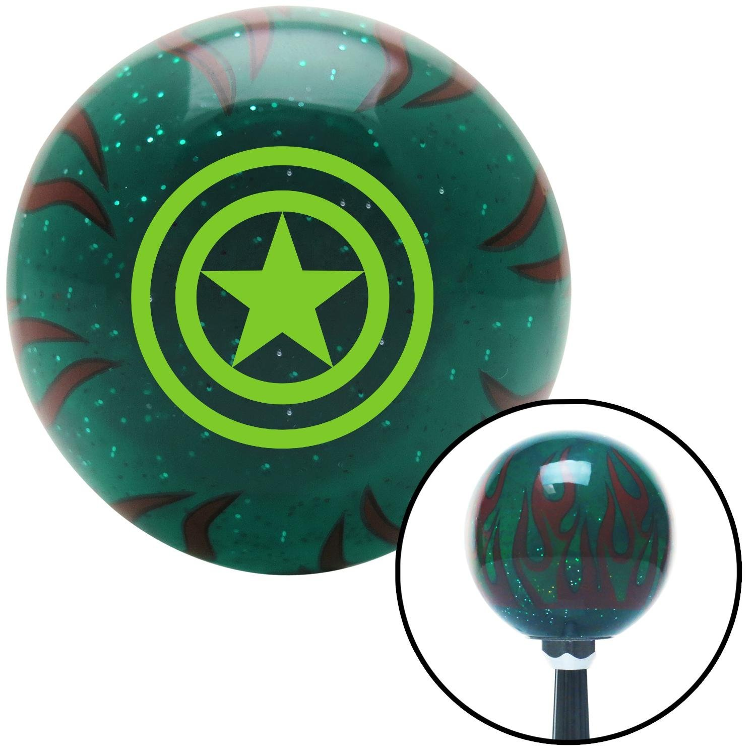 American Shifter 266820 Green Flame Metal Flake Shift Knob with M16 x 1.5 Insert Green Star Inside Circles