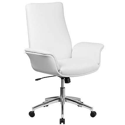 Amazon Com Flash Furniture Mid Back White Leather Executive Swivel