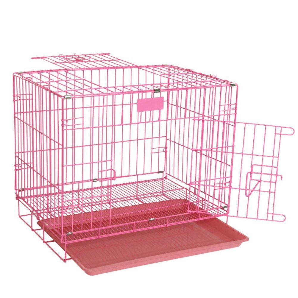折り畳み式の金属製犬クレート,ケージ小型犬し、中型犬の大胆な犬ケージ猫ケージ ウサギのケージ ケージ シングルドア ペット ベビー サークル-ピンク 50x35x42cm(20x14x17inch) B07D1LQ449 26576 50x35x42cm(20x14x17inch)|ピンク ピンク 50x35x42cm(20x14x17inch)