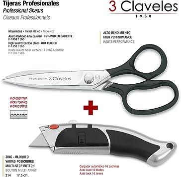 3 Claveles - Pack de Tijeras Multiuso de Alto Rendimiento Profesionales y Cutter Retráctil Metálico con Autocargador