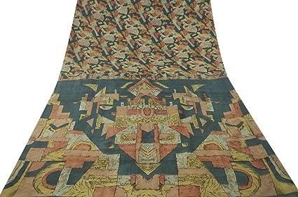 Vintage indio Craft saree pura seda tela estampada Epoca usadas Verde Sari 5YD