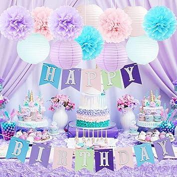 Amazon.com: Pancarta de cumpleaños con diseño de unicornio y ...