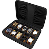 10 Slots Watch Box Organizer/Men Watch Display Storage Case Fits All Wristwatches and Smart Watches up to 42mm with…