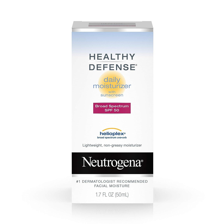 Neutrogena Healthy Defense Daily Vitamin C & Vitamin E Face Moisturizer, Non-Greasy Anti Wrinkle Face Lotion & Neck Cream with SPF 50 Sunscreen - Vitamin C, Vitamin E, Multivitamin Complex, 1.7 fl. oz