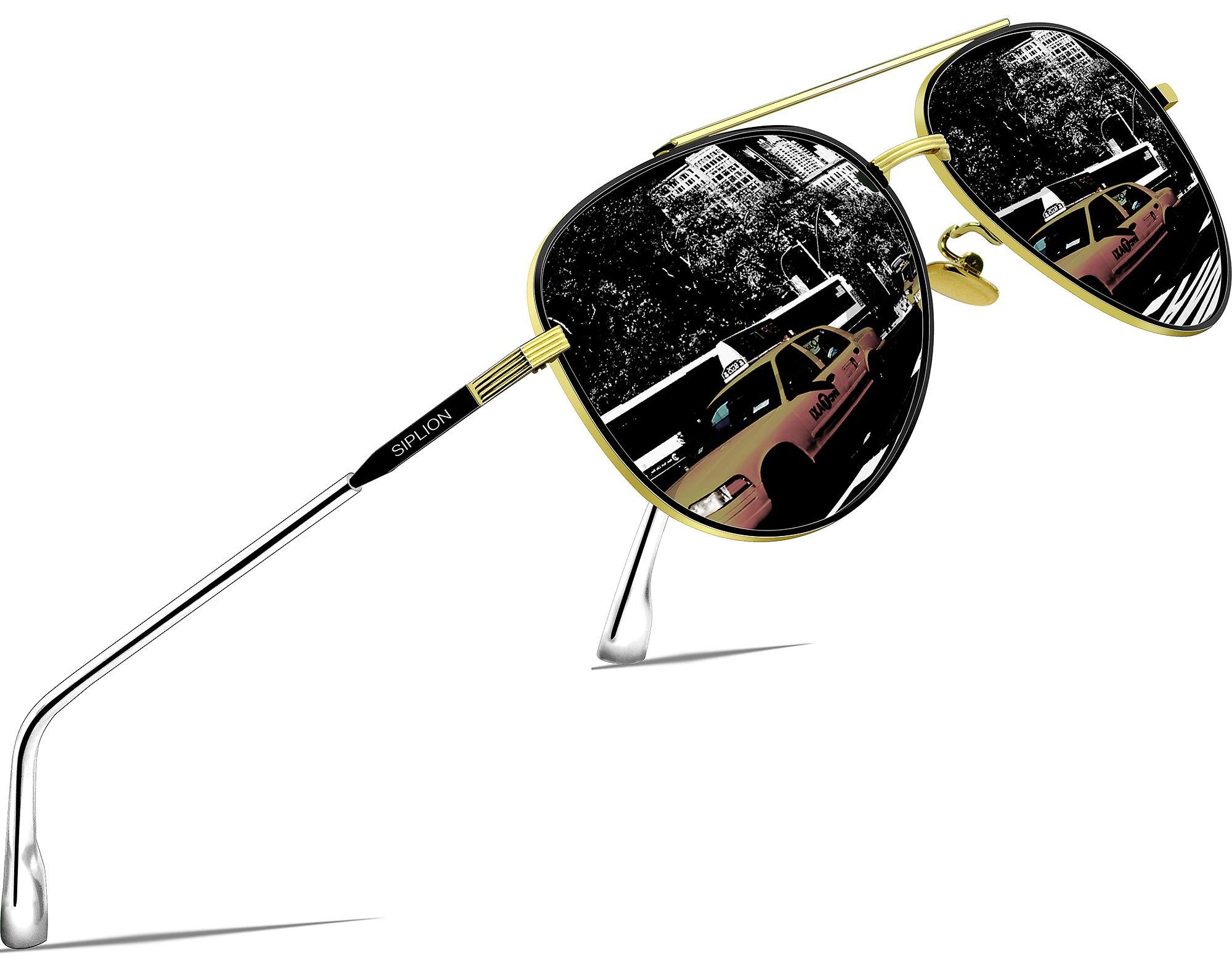 SIPLION Driving Polarized Sunglasses For Mens Womens pilot Sun Glasses UV400 Protection 7077 Black by SIPLION