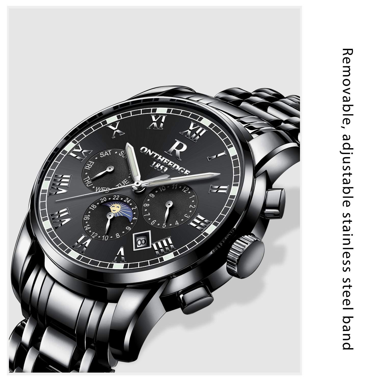 7dc25a4f9a29 RORIOS Luxury Hombres Automático Mecánico Relojes de Pulsera Roman Number  Business Acero Inoxidable Band Day Calendario Multifunción  Amazon.com.mx   Relojes