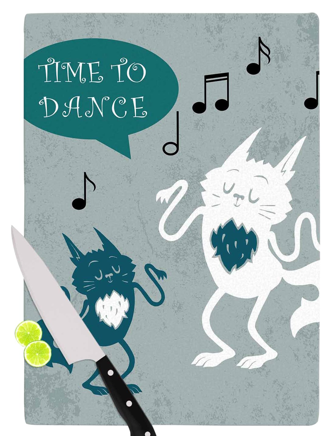 KESS InHouse Anya Volk ''Time To Dance'' Green White Cutting Board, 11.5 x 15.75'', Multicolor