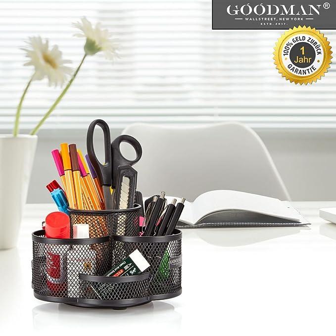 Escritorio orden Sistema giratorio en negro - Grande y de calidad - Portalápices Frabricado metal - Organizador de escritorio, diseño moderno, ...