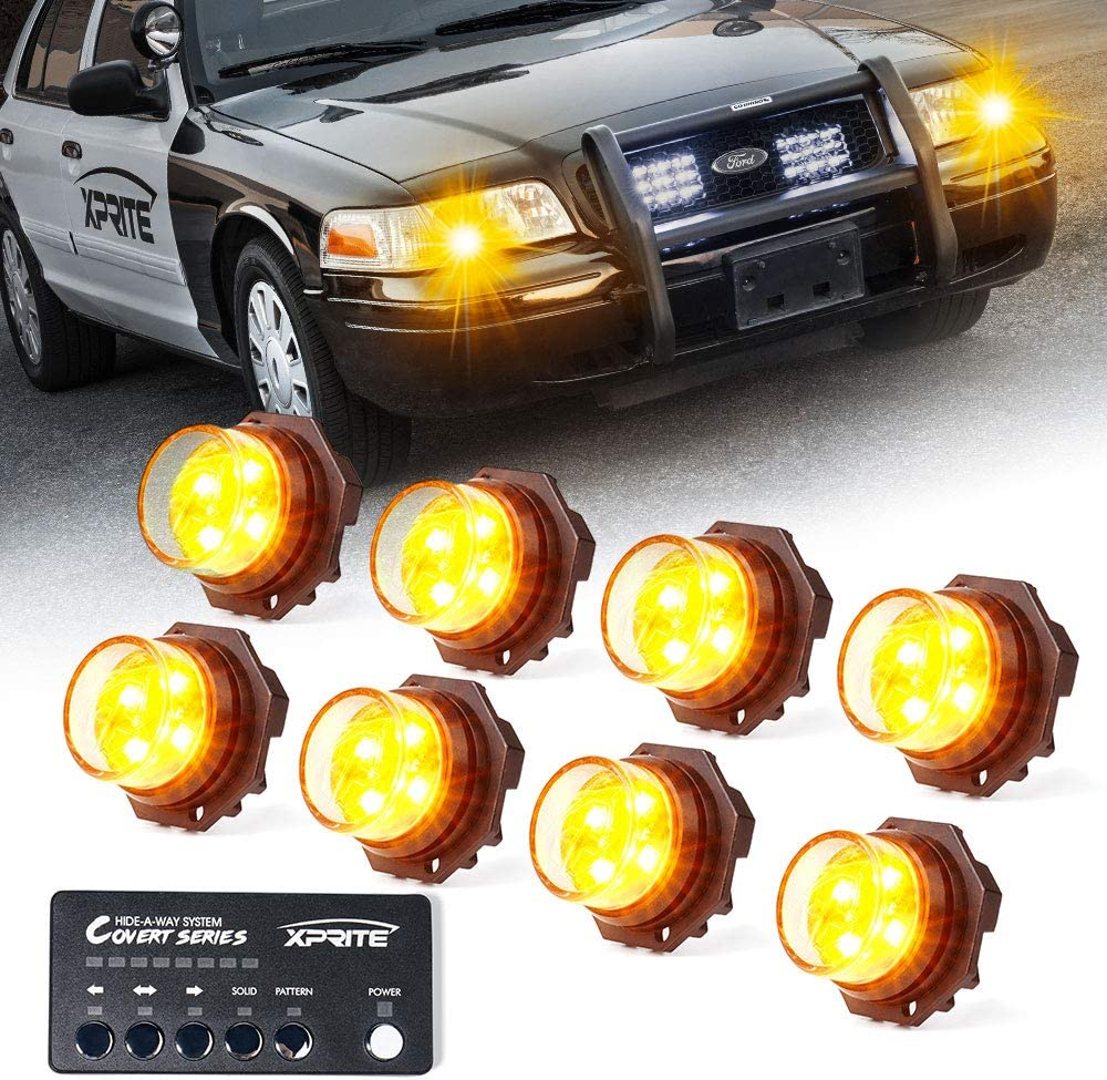 Police Cars Emergency Vehicles Xprite 8 Series Amber Yellow LED Hideaway Strobe Lights Kit 20 Flash Patterns Hazard Warning Light for Trucks