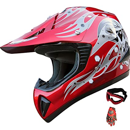 ATV Motocross Helmet Dirt Bike Motorcycle A81 Red +gloves+goggles (M)
