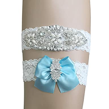 73537decf88 Kirmoo Vintage Bridal Garter Set Lace Wedding Garters for Bride Plus Size ( Blue