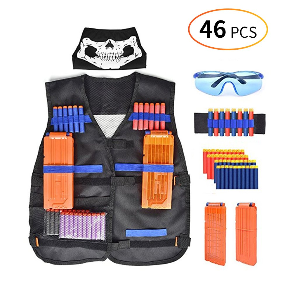 Bespick Tactical Vest Kit for Kids for Nerf Gun N-Strike Elite Series with 40 Refill Darts Bullets, 1 pcs 12-Dart Quick Reload Clips, pcs 8-Dart Wrist Band, Scarf Mask and Protective Glasses