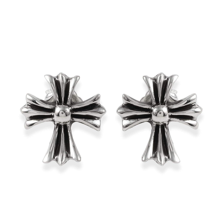 A/&G Rock Sterling Silver FDL Cross Stud Earrings