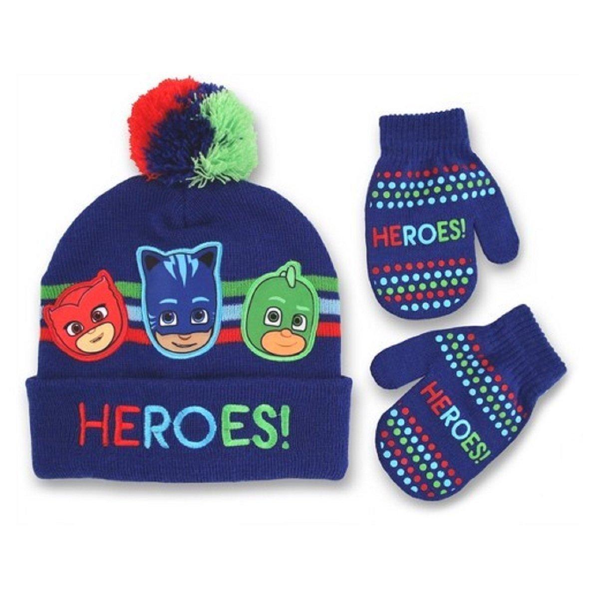 Winter Hat and Mitten Set Toddler Boys PJ Masks HEROS