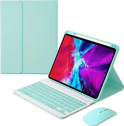 HaoHZ Funda Teclado para iPad Air 4 10.9 (4.a Generación), Contiene Ñ Teclado Inalámbrico Desmontable con Portalápices, Retroiluminación en 7 Colores, ...
