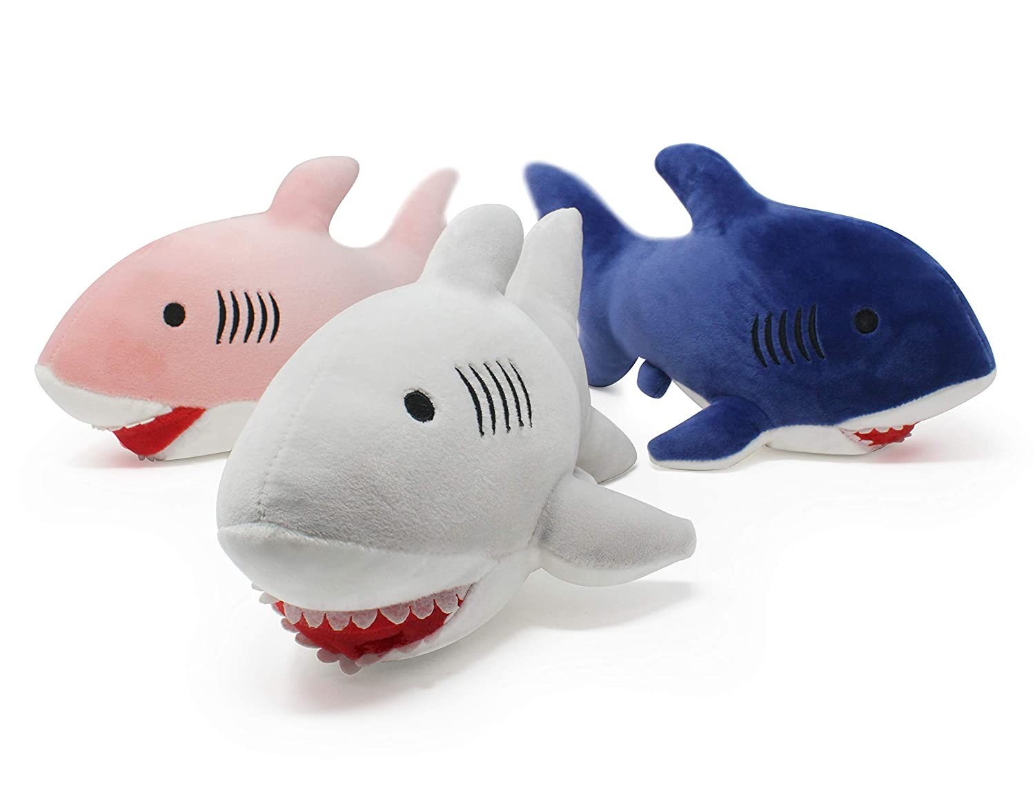 Pluffins Shark Plush - Stuffed Animal in 3 Colors - 3-Pack