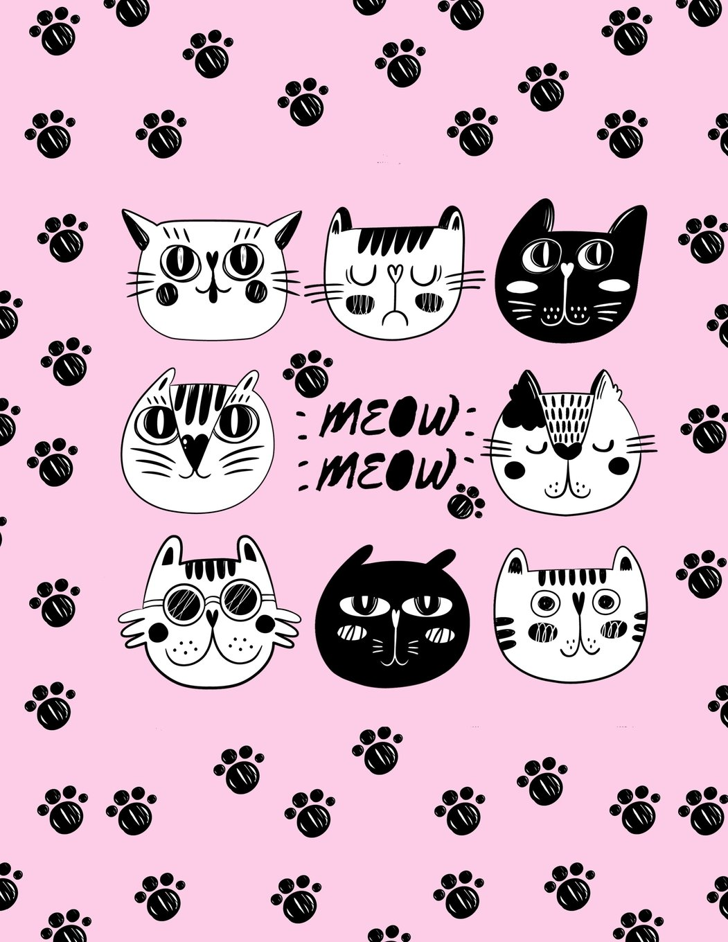 Amazon Com Meow Meow Cats Faces Cute Sketchbook 8 5 X 11 110