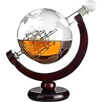Karafka do whisky w kształcie globusa: grawerowana szklana karafka z żaglówką wewnątrz i mapa świata – butelka dekanter…