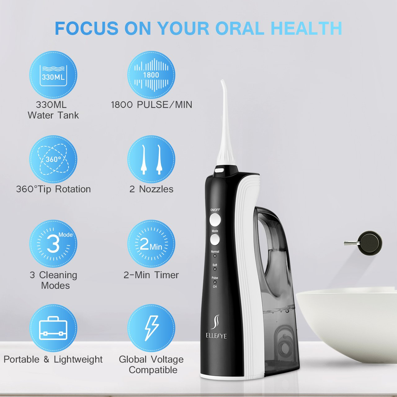[UPGRADED] 330ML Cordless Water Flosser Teeth Cleaner, ELLESYE High Pulse Rechargeable Portable Oral Irrigator for Travel & Office Use, IPX7 Waterproof Dental Flosser for Shower with 2 Tips for Family by ELLESYE (Image #3)