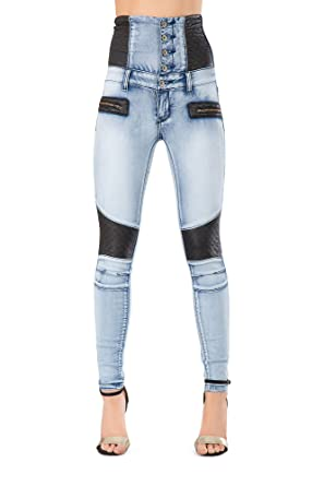 ed7b06c5a7af LustyChic New Women Black High Waisted Leather Look Skinny Jeans Ladies  Slim Fit Trousers Leggings Size 6-14  Amazon.co.uk  Clothing