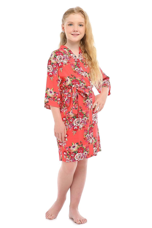 7f53816dcf Girls Rayon Cotton Floral Satin Kimono Robe for Wedding Dressing Gown  Sleepwear at Amazon Women s Clothing store