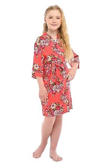 b521bd3218 Children s Rayon Cotton Floral Satin Kimono Robe for Wedding Dressing Gown  Sleepwear(4