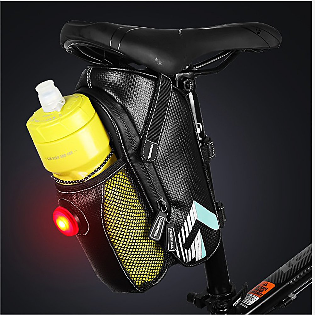 Bike Saddle Bag, MTB Rear Light Rear Seat Bag - Road Bike Waterproof Cushion Bag - Polyester Saddle Bag with Pocket Water Bottle - Bicycle Seat Back Pocket Repair Tool Pocket Bag