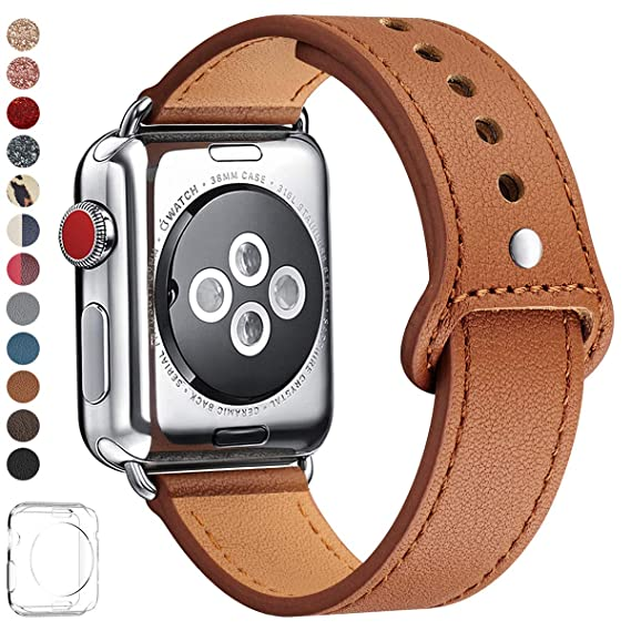 LOVLEOP Bands Compatible with Apple Watch Band 40mm 38mm 44mm 42mm, Top Grain Leather Strap for iWatch Series 4 Series 3 Series 2 Series 1 (Brown ...