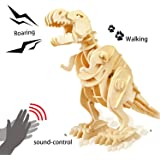 Robotime 3D Puzzle - Robotic Dinosaur Toys - Wooden Sound Controlled Walking T- rex Jigsaw Puzzle - Model Woodcraft Construction Kit - Building Toys Craft Puzzles - Top Birthday Christmas Gifts for Boys and Girls 6, 7, 8 Year Old and Up