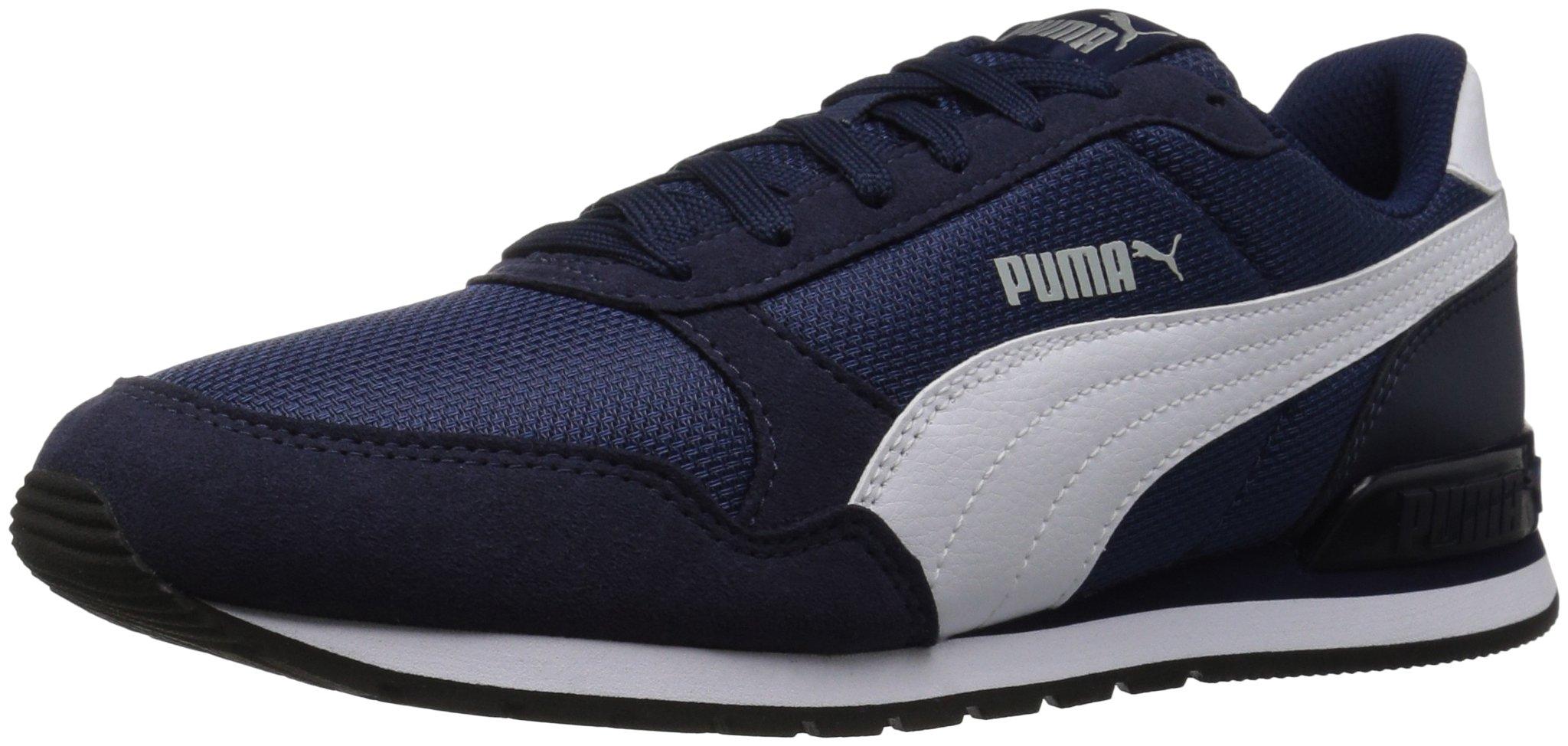 PUMA Unisex-Kids ST Runner V2 Mesh Sneaker, Peacoat White, 2 M US Little Kid