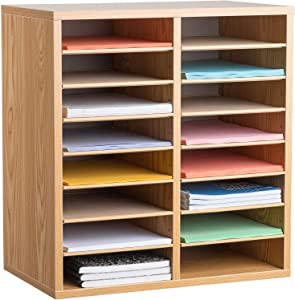 AdirOffice Wood Adjustable Literature Organizer - Removable Shelves - Heavy Duty Stackable Literature Organizer - Great for Office, Classrooms and Mail Rooms (16 Compartment, Medium Oak)