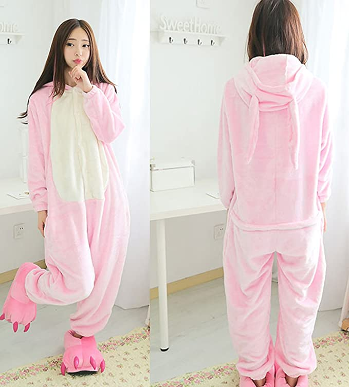 Amazon.com: Adult Pink Ears Rabbit Onesie Costume for Women Men Kigurumi Pajamas: Clothing