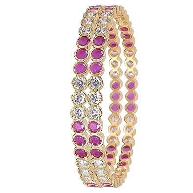 036f5851db5 Ratnavali Jewels Designer Gold Plated American Diamond Red Ruby CZ Bangles  Set for Women/Girls RV3190R-2.4: Amazon.in: Jewellery