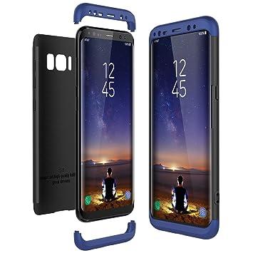 CE-Link Funda Samsung Galaxy S8, Carcasa Fundas para Samsung Galaxy S8, 3 en 1 Desmontable Ultra-Delgado Anti-Arañazos Case Protectora - Azul + Negro