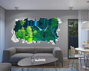 Tapete 3D Effekt (87 x 48 cm, Wandtattoo Grüne Wasserfall Tapete 3D ...