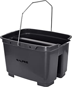 Alpine Industries 19.5 Qt. Double Pail Plastic Bucket/Caddy – Commercial Grade Heavy Duty Caddy w/Handle for Cleaning Home Bathroom Floors & Windows, Gray