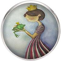 Anillo de Acero,Ajustable,Bandeja 25mm, Hecho a Mano Ilustración Princesa y Rana