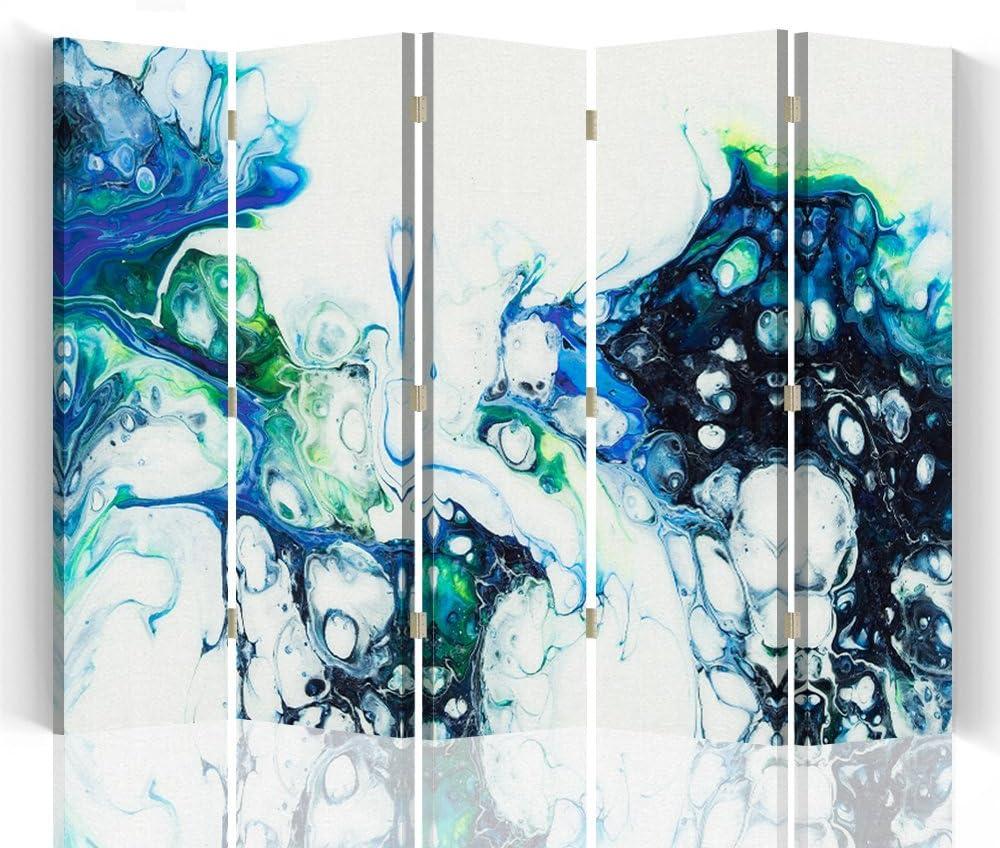 Feeby – Biombo – Biombo decoratiovos – Decoration Cuarto – Elementos Decorativos Salon – Biombo - a una Cara - de 5 Piezas - 180x150 cm - Mayuko Miura - Abstracción De Color Blanco Azul Verde: Amazon.es: Hogar