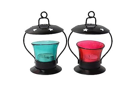 Frestol Iron T-Light Lamp (9.5 cm x 9.5 cm x 12 cm, Set of 2)