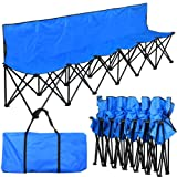 Yaheetech Lightweight Folding Team Sport Bench 6 Seater Blue Sideline Seats -- Bigger than others