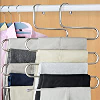 Bluecookies S-type Stainless Steel Pants Hanger Trouser Hanger Space Saver Multi-Use for Clothes Towel Scarf Ties