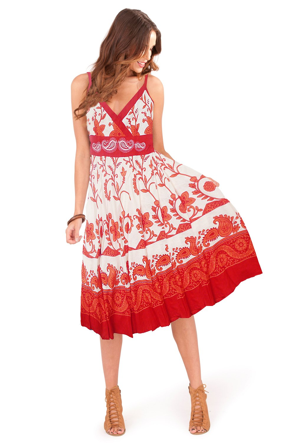Ladies 100% Cotton Swirl/Floral Print Strappy Mid Length Summer Dress with Crossover V Neck, Red or Blue Pistachio d726