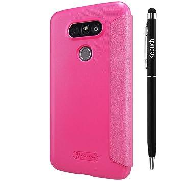 Kepuch LG G5 Funda - Alta Calidad Estuche Cuero Brillante Escudos Carcasa Funda Smart Case Cover Cuero Ultra-delgado Con Protector pantalla Para LG G5 ...
