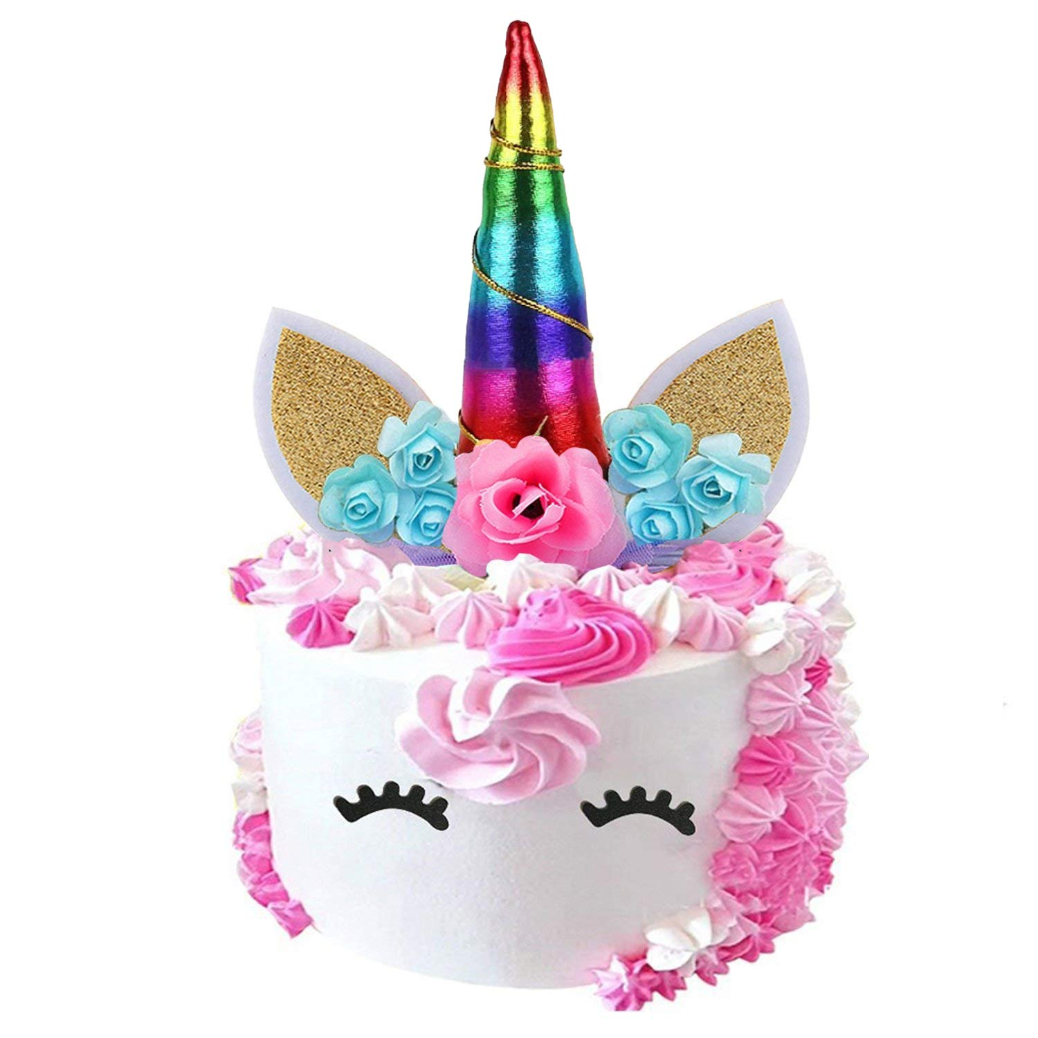 Amazon SAKOLLA Rainbow Unicorn Birthday Cake Toppers Set Horn Ears Eyelash And FlowersUnicorn Decoration For Party Baby