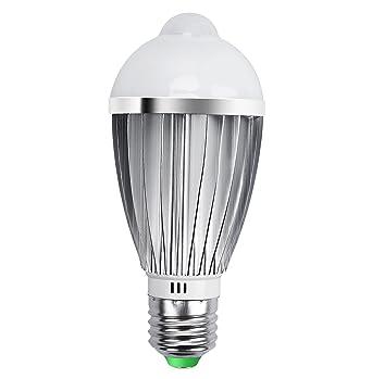 Bombilla Sensor, QPAU Bombillas LED E27 7W Luz con Sensor de Movimiento Blanca Cálida