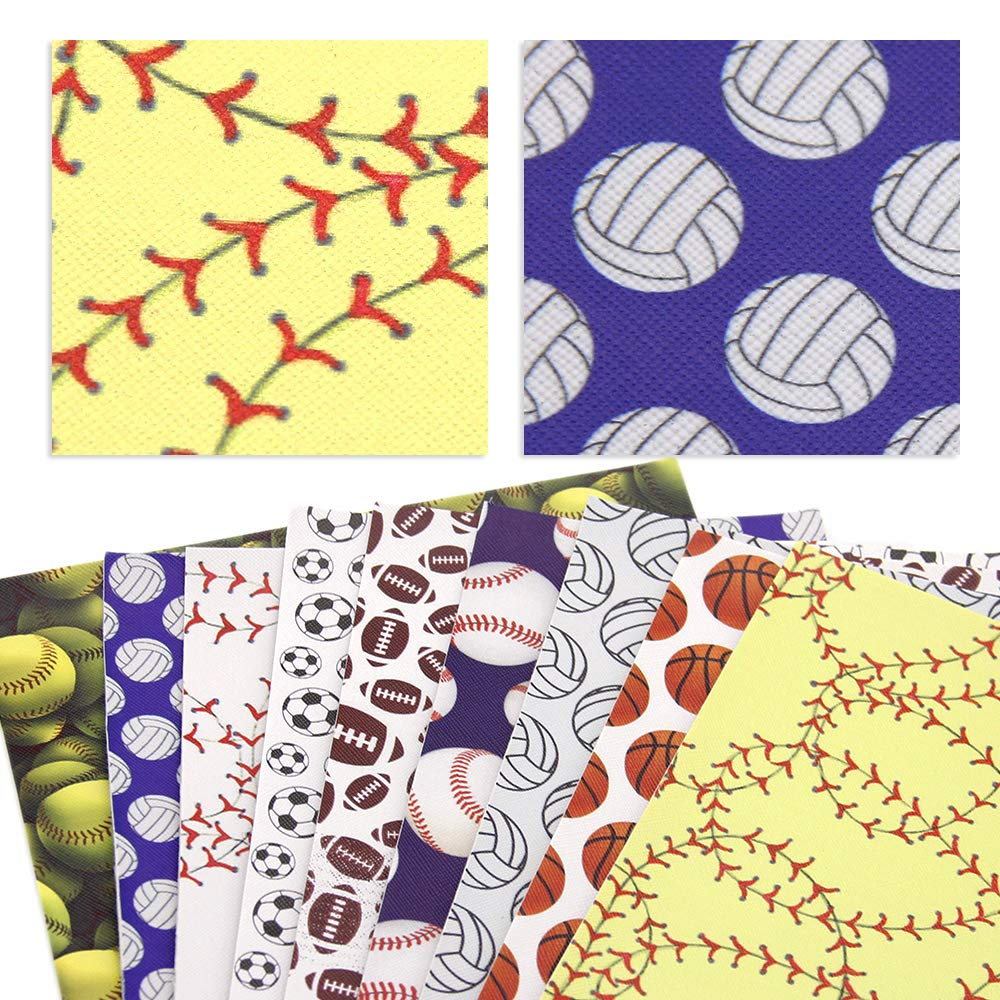David Angie Ball Football Baseball Volleyball Printed Faux Leather Sheet 9 Pcs Assorted 8'' x 13'' (20 cm x 34 cm) Sports Theme Leather Fabric for Bags Earrings Making DIY Projects (Pattern A) by David Angie (Image #2)