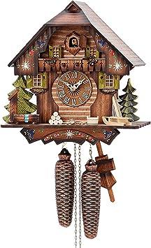 ZS ZHISHANG Clocks Wall Clocks Large Decorative German Black Forest Cuckoo Clock Retro Nordic Style Wooden Cuckoo Wall Clock