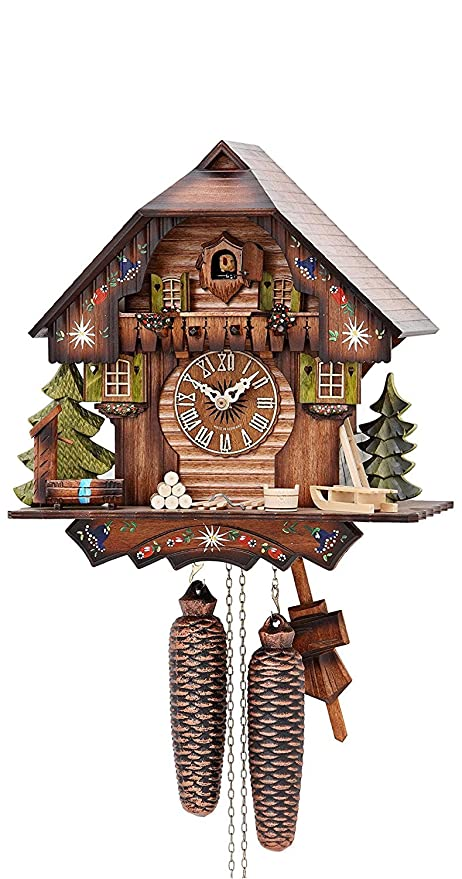 Superb German Cuckoo Clock 8 Day Movement Chalet Style 13 Inch   Authentic Black